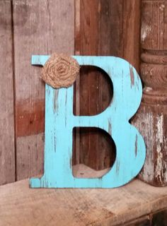 9.5 Rustic Aqua Letter with burlap flower shabby by ThePinkToolBox