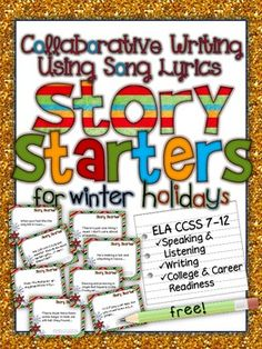 FREE! Collaborative Writing Using Song Lyrics: Story Starters for winter holidays.