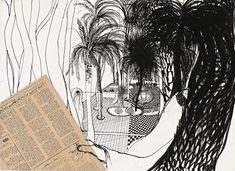 Brett Whiteley (Australian, Tangier Postcard, Charcoal, gouache and collage on paper, x cm. Art Market, View Image, Gouache, Cotton Canvas, Auction, Collage, Cool Stuff, Drawings, Artist