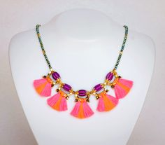 5-Mini-Fringe-Necklace Pink-Orange, by Mimi Scholer--more!--