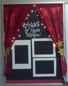 My first bulletin board in my classroom! Artist of the week. :) http://www.mrsorange.com