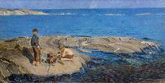 Tvärminne: Venny Soldans and Juhani Aho's summerplace. Painting: Venny Soldan-Brofeldt Pojat luodolla 1898