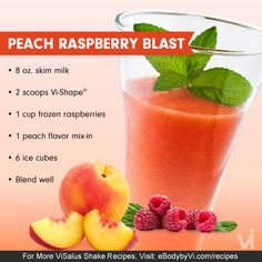Tantalize your Taste Buds with this Smooth, Fruity and Delicious Body by Vi Peach & Raspberry Vi-Shake Smoothie!  Shakes like these make the Body by Vi challenge fun and easy!