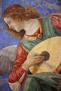 """Angel with Lute."" Fresco by Melozzo da Forli, c. Renaissance Kunst, Italian Renaissance, Christian Drawings, Traditional Paintings, Italian Art, Angel Art, Sacred Art, Religious Art, Art And Architecture"