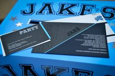 Blue & Black Bar Mitzvah Invitations | Basketball Theme {A Magic Moment} - mazelmoments.com