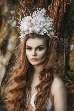 MADE TO ORDER Sea Queen mermaid crown - siren - photoshoot - pageant - runway - mermaid costume - fantasy.