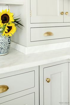 Award-winning kitchen designer, Heidi Piron, creates hand-crafted kitchens and customized spaces - from traditional and transitional to contemporary and modern. Grey Kitchen Cabinets, Kitchen Hardware, Painting Kitchen Cabinets, Shaker Cabinets, Upper Cabinets, White Cabinets, Cabinet Hardware, Brass Hardware, Pantry Design
