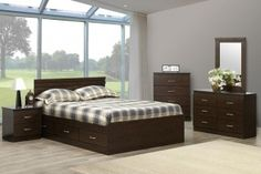 Chocolate 4PC Queen Storage Bed by Modern | Surplus Furniture and Mattress Warehouse store in Barrie Ontario