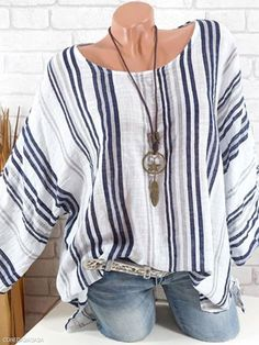 1b14aed996 Round Neck Loose Fitting Stripes Blouses - berrylook.com