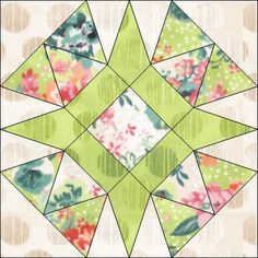 Paper Pieced Quilt Block Downloadable Instant PDF Pattern. 6 x 6 inch finished block.  I design my patterns for the beginner or experienced