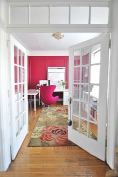 Love allll of it:  the rug, the organization, pops of color, doors, natural light … etc. Katie's Colorful Live/Work Space in Brooklyn House Tour http://www.apartmenttherapy.com/katies-live-work-apartment-in-brooklyn-house-tour-203474