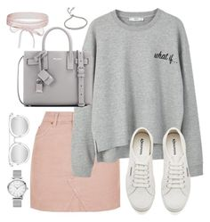 """Untitled #3271"" by theaverageauburn on Polyvore featuring Topshop, MANGO, Superga, Yves Saint Laurent, Quay, Boohoo and Monica Vinader"