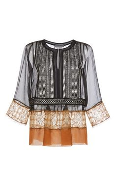 This **Alberta Ferretti** blouse is rendered in sheer chiffon creponne and features a split jewel neck with an embroidered bib, three quarter length sleeves, and a relaxed silhouette with pleating at the waist.
