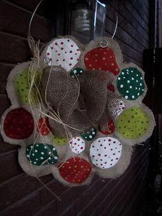 Burlap Christmas Wreath with Burlap Bow Burlap Door Hanger. $28.00, via Etsy.