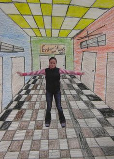 neat way to teach one point perspective - 6th grade