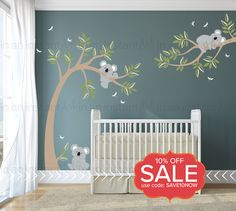 How adorable is this set with playful Koala Bears and a sleeping koala on a branch. Add a touch of color with custom color options for the Dragonflies. This set comes with a tree, a branch, leaves in 2 custom colors, 3 koala bears and dragonflies.  { APPROX. SIZES }  Tree is 53 wide x 80 tall Branch is 48 wide x 37 tall Koalas are 10 - 14 wide  Whats Included: ~ 3 Koala Bears ~ Tree ~ Branch ~ Leaves in 2 Colors ~ Dragonflies  { CHOOSE COLORS }  Please view the color chart in the listing…