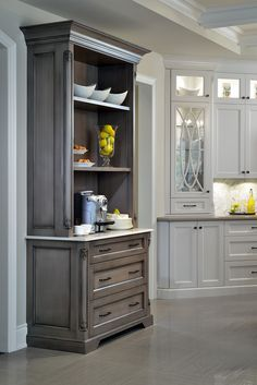 Elegant cabinetry in kitchen--love the contrast