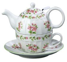 ANDREA BY SADEK Apple Blossom Tea for One Teapot with Strainer / Cup & Saucer