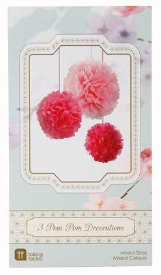 3er Pom Pom Set Mix rosa/pink bei www.party-princess.de