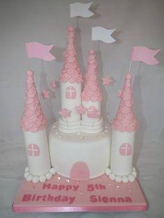 Edible jelly gemstones on a beautiful princess castle cake created by SugarMama Creations.
