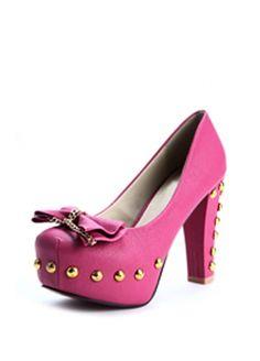 "5"" High Heel 1 3/5"" Platform Peach PU Rivets Bowtie Chunky Heel  Item Code: D011135  Listing price: $32.21    Now $28.99"