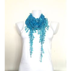 2 SCARVES Aqua Blue Lace Scarf, Women Boho Style, Necklace, Neck Wrap,... (£12) ❤ liked on Polyvore featuring accessories, scarves, wrap scarves, blue handkerchief, turquoise scarves, triangle shawl and shawl scarves