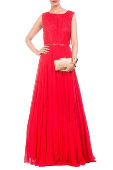 Blood Red Pearl Embellished Gown by Anushree Agarwal, Western Gowns