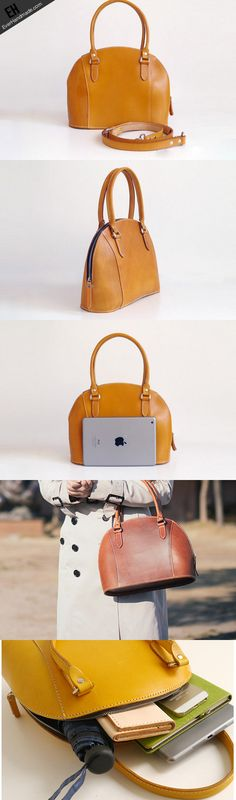 Handmade Leather handbag shoulder bag yellow brown for women leather shoulder bag