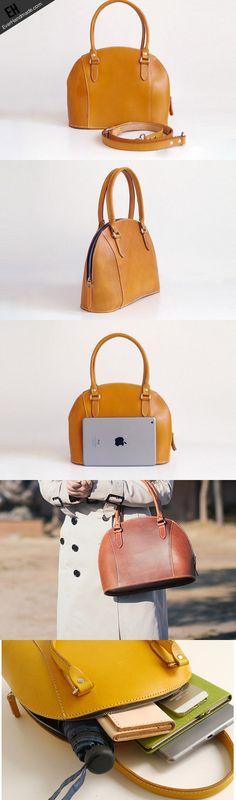 Handmade Leather handbag shoulder bag yellow brown for women leather shoulder bag