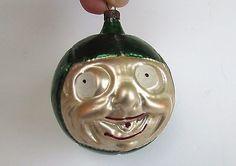 Vintage interbellum German Glass Christmas Ornament Soccer ball happy face RARE