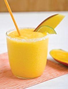 Mango-Citrus Daiquiri ~ fresh squeezed lime juice, 1⁄2 cup sugar, 1 lb pkg frozen mango cubes, 2 ⁄3 cup Bacardi Limon rum, 1⁄3 cup Cointreau