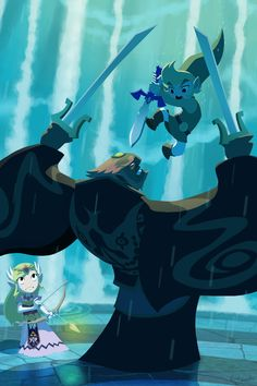 Link: Hyaaaa!    Zelda: Oh my... Is he really gonna...?    Ganondorf: ... Perhaps I should have thought this through.