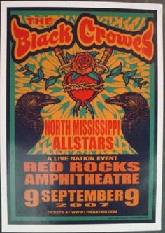 Original concert poster for The Black Crowes at Red Rocks in 2007. 14 x 20 inches on thin glossy paper. Art by Mark Arminski.