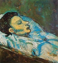 Pablo Picasso - The Death of Casagemas -  In the latter part of 1901, Picasso sank into a severe depressionand blue tones began to dominate his paintings. Picasso's painting La mort de Casagemas, completed early in the year following his friend's suicide, was done in hot, bright hues.