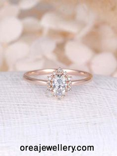 Vintage engagement ring Oval Moissanite engagement ring rose gold diamond halo wedding Jewelry Anniversary Valentine's Day Gift for women by NyFineJewelry on Etsy Engagement Ring Rose Gold, Three Stone Engagement Rings, Engagement Ring Settings, Solitaire Engagement, Engagement Ring Styles, Engagement Jewellery, Pretty Engagement Rings, Engagement Couple, Wedding Engagement