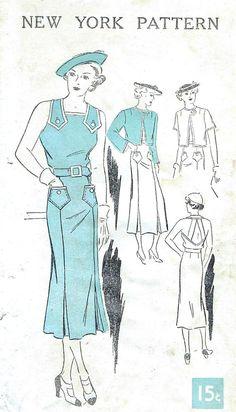 1930s Sun Back Dress New York 656 Vintage Sewing Pattern UNCUT Bust 32 Jacket Open Back Strapped Dress Sewing Pattern