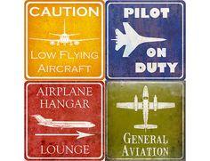 """Aviation Hangar signes Vintage - ONE 10 x 10"""" Estampe - votre choix"""