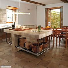 Floor features Cimmaron 12 x 12 in color Canyon, decorated with the 1 x 1 Copper Strata Insert. Counter features Cimmaron 6 x 6 in color Timber.