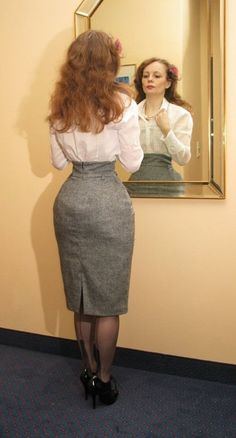 Gray Pencil Skirt White Blouse Sheer Black Back Seam Stockings and Black High Heels