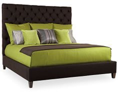 """""""Porter"""" Upholstered Queen Bed by Bernhardt: Button-tufted headboard and fully upholstered footboard and rails. Luxury Bedroom Furniture, New Furniture, Bernhardt Furniture, Green Bedding, Upholstered Beds, King Beds, Luxurious Bedrooms, Bed Design"""