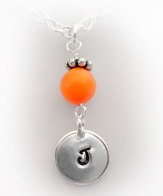 Take a look at this Orange Crystal & Silver Initial Pendant Necklace by The Sassy Apple on #zulily today!