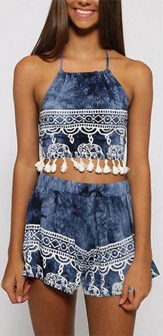 Elephant Rider Blue White Tie Dye Elephant Border Spaghetti Strap Tie Back Halter Tassel Trim Two Piece Romper
