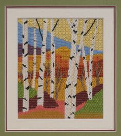 BB Needlepoint Designs - BB 73 Fall Birches  Stitch guide available along with all four seasons
