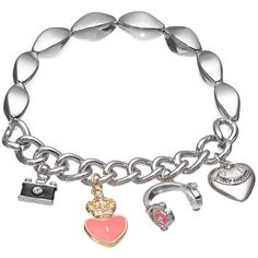 Juicy Couture Camera, Heart & Headphones Charm Stretch Bracelet (Pink) (755 PHP) ❤ liked on Polyvore