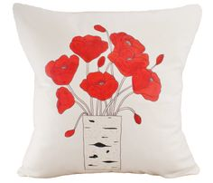 Poppies Cushion Cover, with the vase a pocket for remote control or mobile phone -- perfect for spring living room