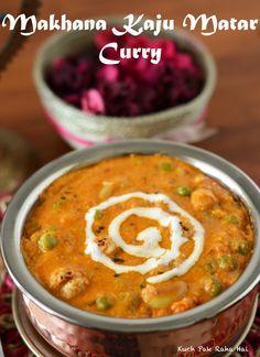 Makhana Kaju Matar Curry is an Indian delicacy consisting of makhana (fox nuts), peas and rich cashew gravy. This Makhana Kaju Mata. Indian Vegetable Side Dish, Indian Vegetable Recipes, Indian Vegetarian Dishes, Indian Dishes, Veg Recipes, Vegetable Side Dishes, Curry Recipes, Indian Food Recipes, Vegetarian Recipes