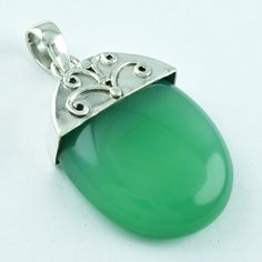 SOLID !! GREEN ONYX STONE 925 STERLING SILVER GORGEOUS PENDANT P1839 #SilvexImagesIndiaPvtLtd #Pendant
