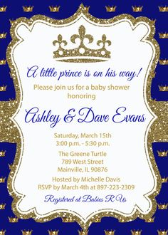 Príncipe Gold Blue brillo real Baby Shower por PrettyPaperPixels