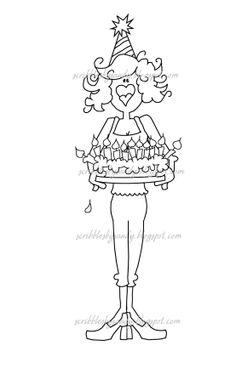 $3.00 Carrie Birthday Diva Digital Stamp  (http://buyscribblesdesigns.blogspot.ca/2012/09/123-carla-birthday-diva.html) digital stamps, digis, scribbles designs, birthday, cake