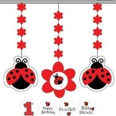 LadyBug Birthday Party Supplies Canada: These super cute Ladybug Fancy Hanging Cutouts feature red, black and white ladybugs danglers and a flower dangler that allows you to customize with the includ. Ladybug Party Supplies, Kids Party Supplies, Cumpleaños Lady Bug, Ladybug 1st Birthdays, Baby Ladybug, Ladybug Decor, Josi, Baby Shower Decorations, Hanging Decorations